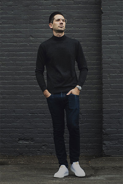 Male model posing in men's fashion